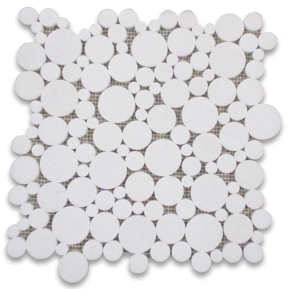 Thassos White Bubble Round Paramount Mosaic Tile Honed Marble