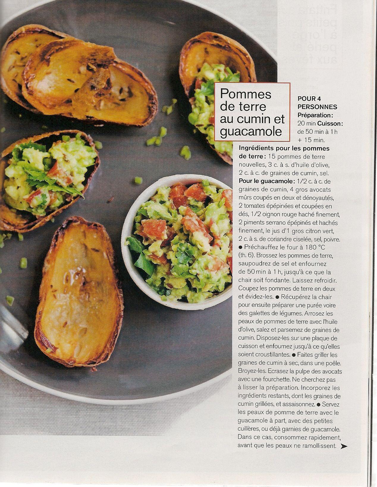 pomme de terre au cumin et guacamole