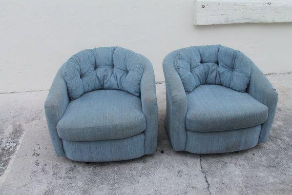 Vintage PAIR Swivel Tub Barrel Chairs Lounge Club Hollywood Regency Tufted  Mid Century Modern Palm Beach
