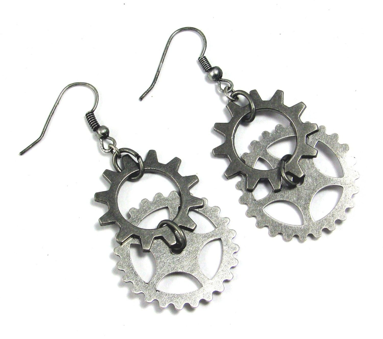 Steampunk Earrings Industrial Jewelry Gears Cogs
