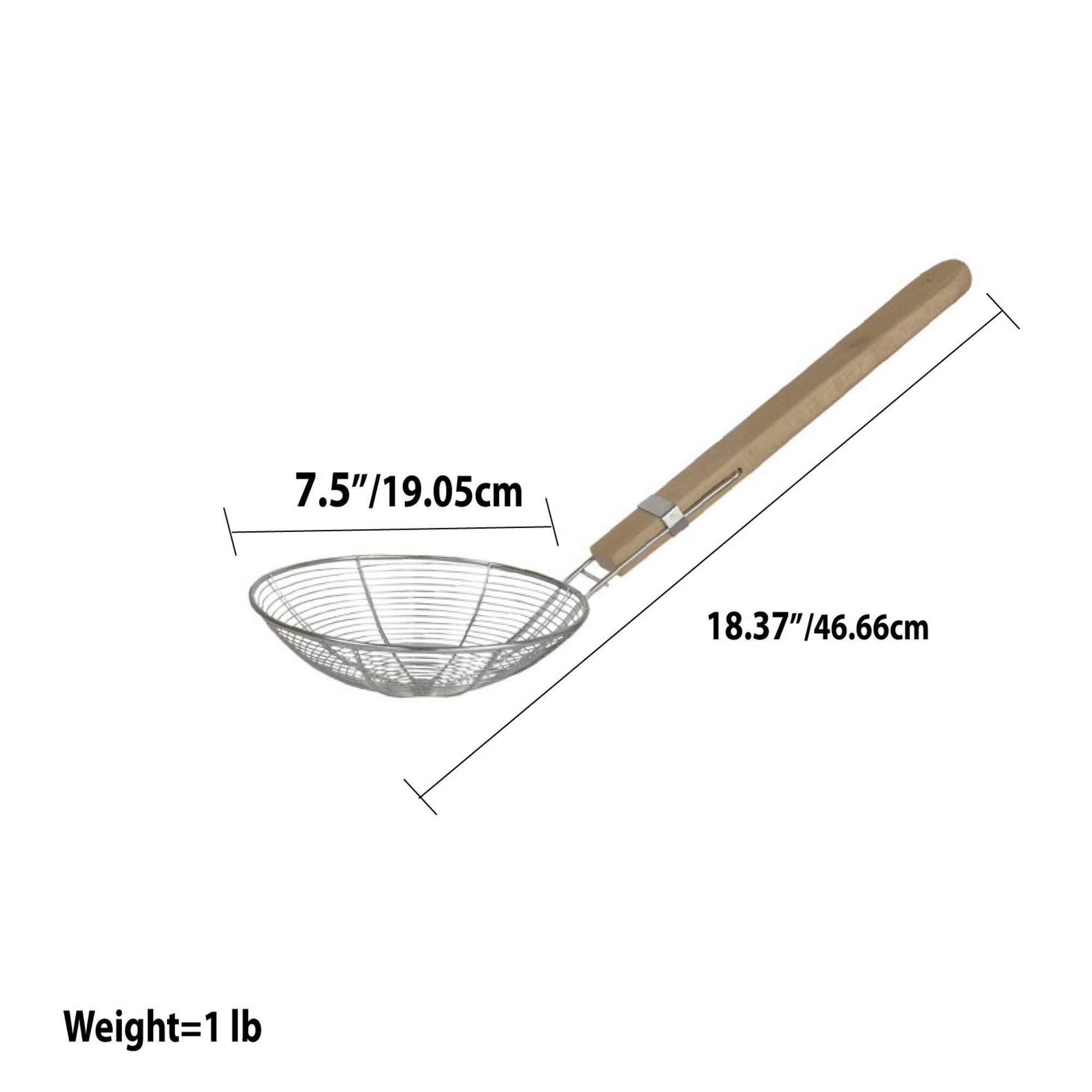 Home Basics Stainless Steel Strainer with Wooden Handle