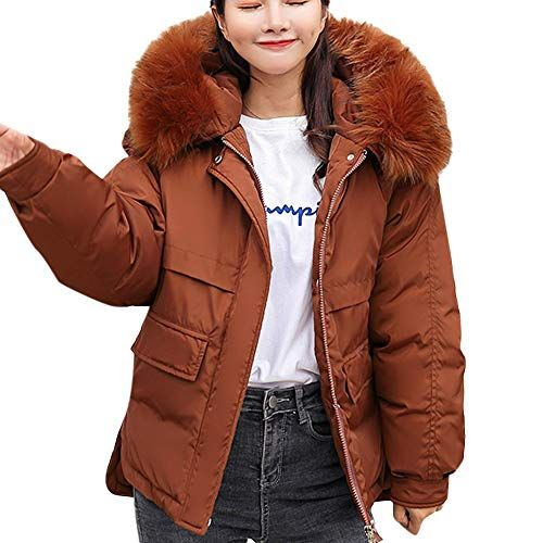 a5f9544c0a9 Lazzboy Womens Down Jacket Coat Winter Faux Fur Hooded Puffer Cut-Out Side  Hem Ladies Outerwear Oversized Plus SizeUK Size 14-20(2XL(20)Brown)