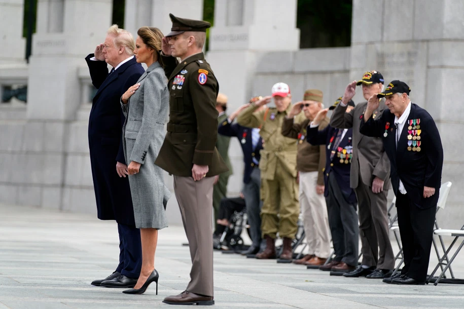 Trump honors vets at 75th anniversary of VE Day at WWII Memorial in 2020   First  lady melania trump, Melania trump, First lady melania