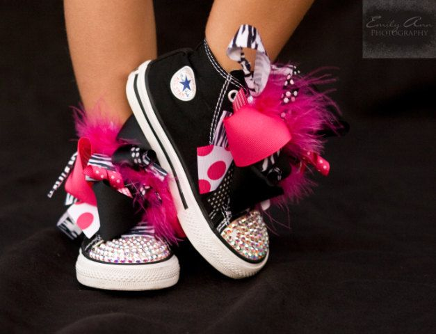 Converse SASSY ZEBRA Black High Tops with Princess Boutique Bows (Sizes 2 Infant - 10 Toddler) and Swarovski Crystals.