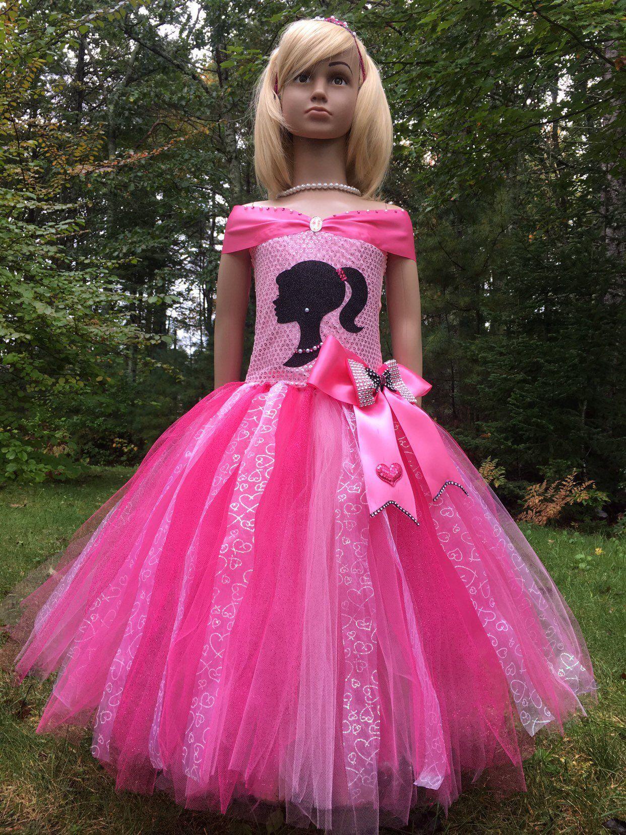 Barbie inspired tutu dress holidays fancy tulle pink