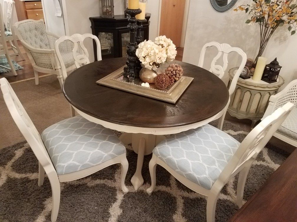 Refinished solid wood dining set