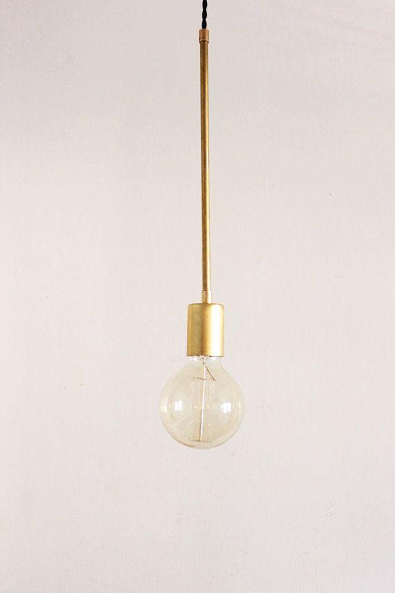 Brass Hanging Light, Vintage Modern Industrial Pendant Light - Globe ...