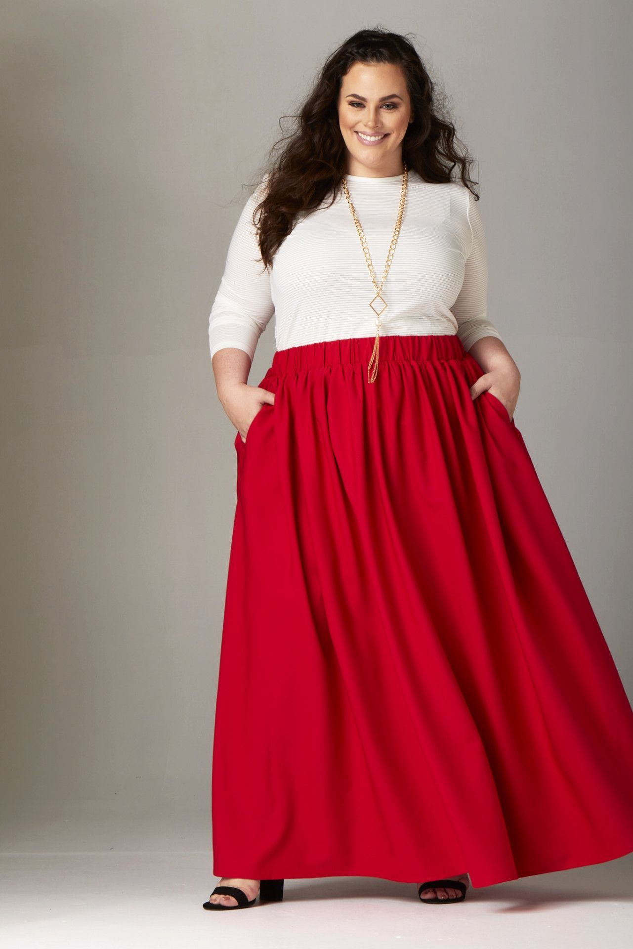 28b8260ec8 Plus Size Clothing for Women - Twirl Maxi Skirt w/ Pockets - True Red -  Society+ - Society Plus - Buy Online Now! - 2