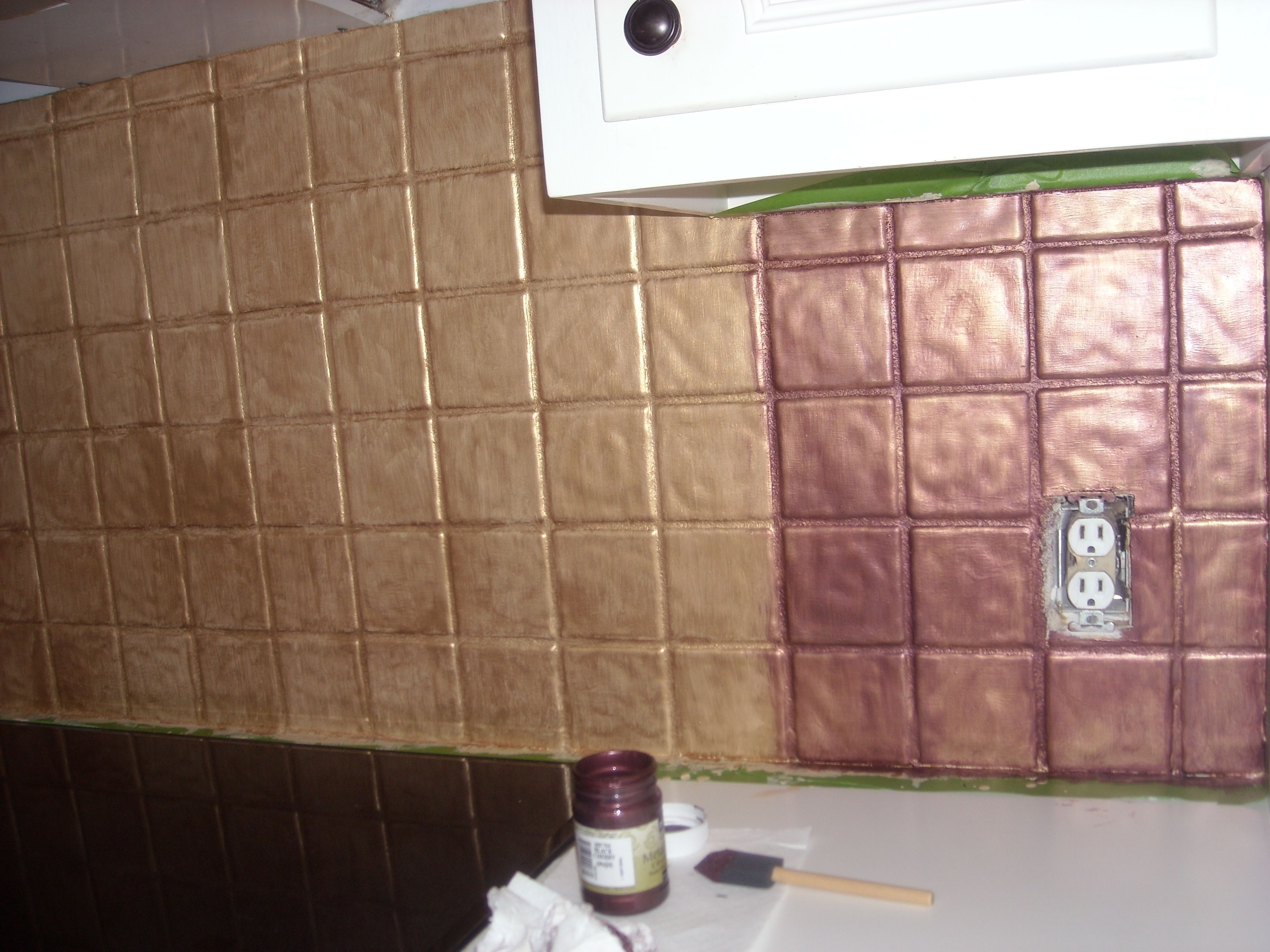 Yes You Can Paint Over Tile I Turned My Backsplash Kitchen Tiles Into Faux Metal Tiles