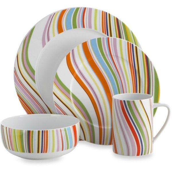Explore Casual Dinnerware Dinnerware Sets and more!  sc 1 st  Pinterest & Oneida Marble Swirl 4-Piece Dinnerware Set ($30) ? liked on ...