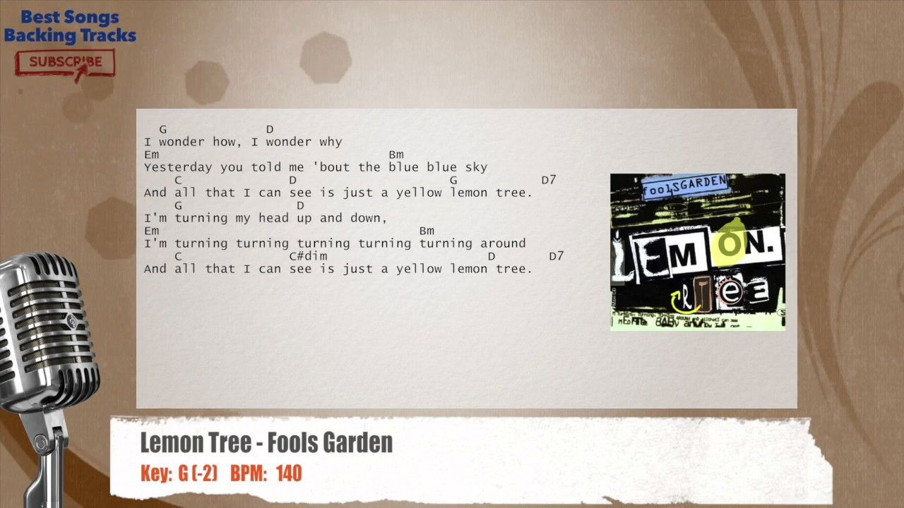 Lemon Tree Fool's Garden Vocal Backing Track with chords