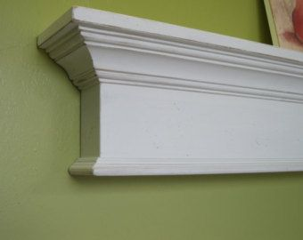 Long white mantel shelf