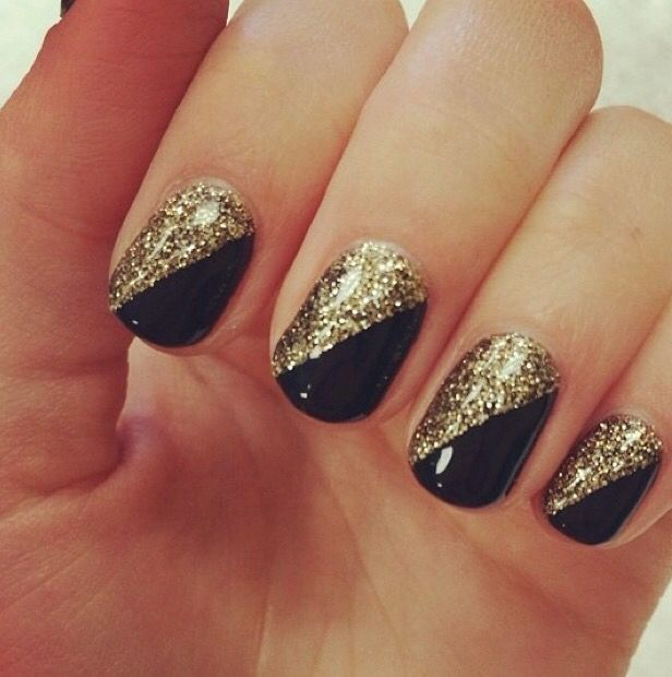 Black and gold Nail Design, Nail Art, Nail Salon, Irvine, Newport Beach - Nice Black And Gold... My Nails Are Chipped! Pinterest Gold