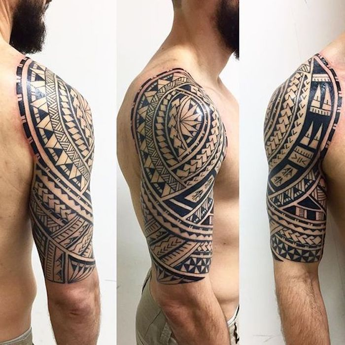 maori tattoo arm ein junger mann mit einem bart und mit. Black Bedroom Furniture Sets. Home Design Ideas