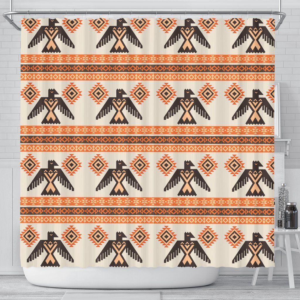 Eagle Aztec Print Pattern Bathroom Shower Curtain Aztec Print