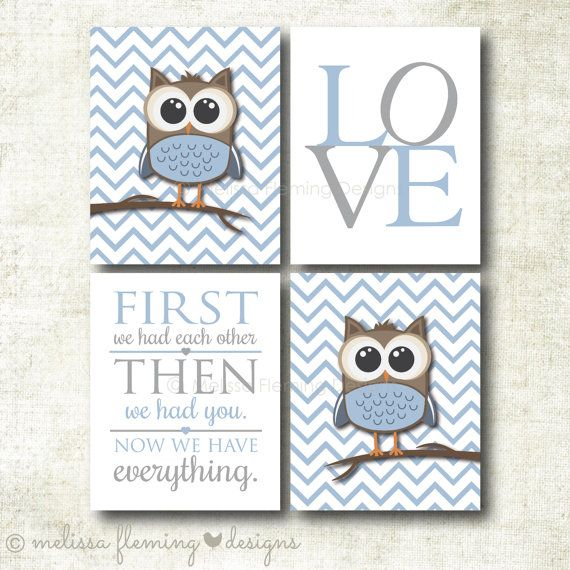 Baby Boy Nursery Art Chevron Owl Prints Decor Print Set Boy23