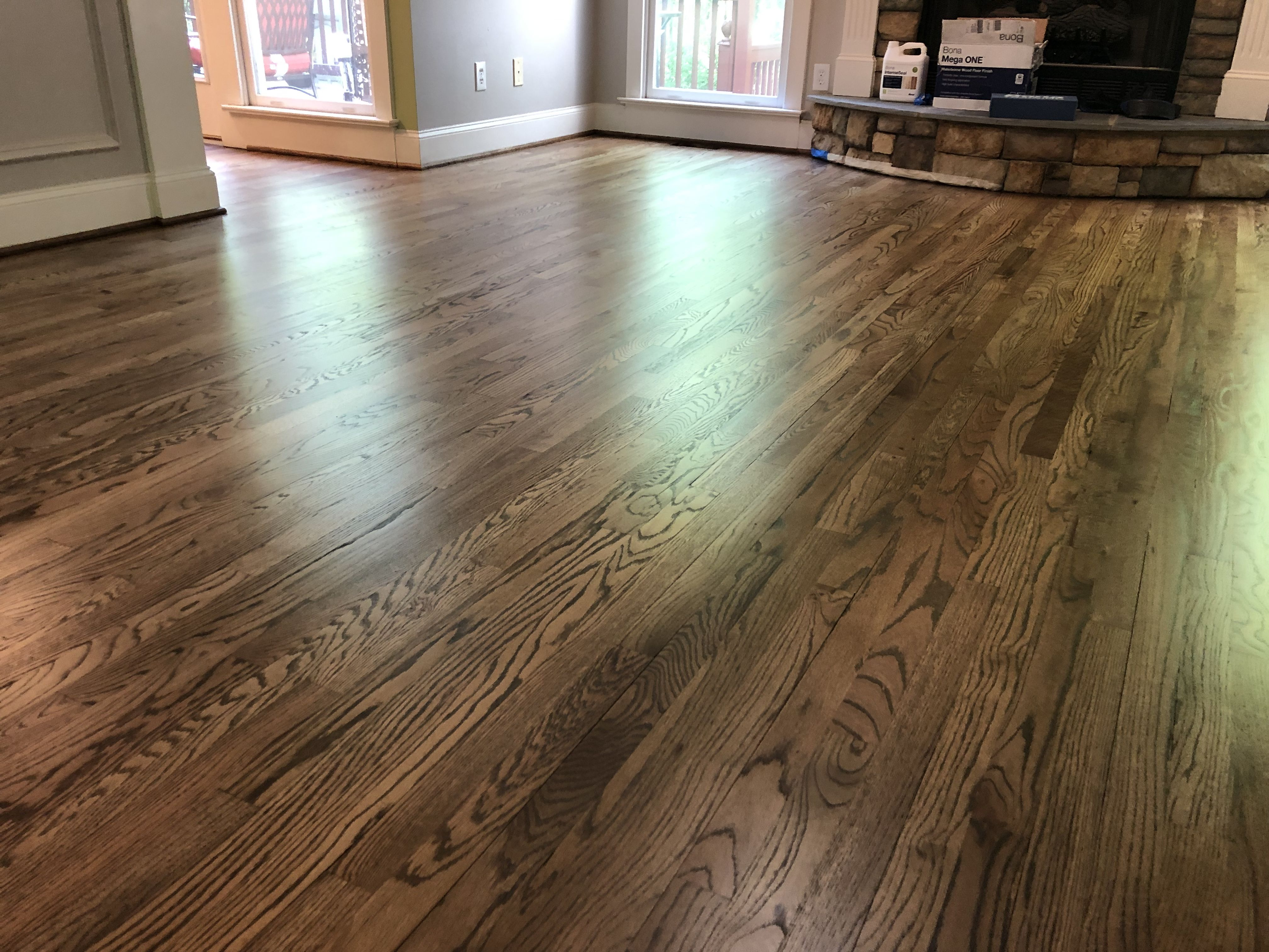 Red Oak Hardwood Floors Stained With Bona Antique Brown Stain