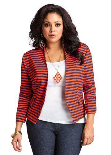 1b18d2db3 Ashley Stewart Women`s Striped Ponte Knit Jacket  27.99