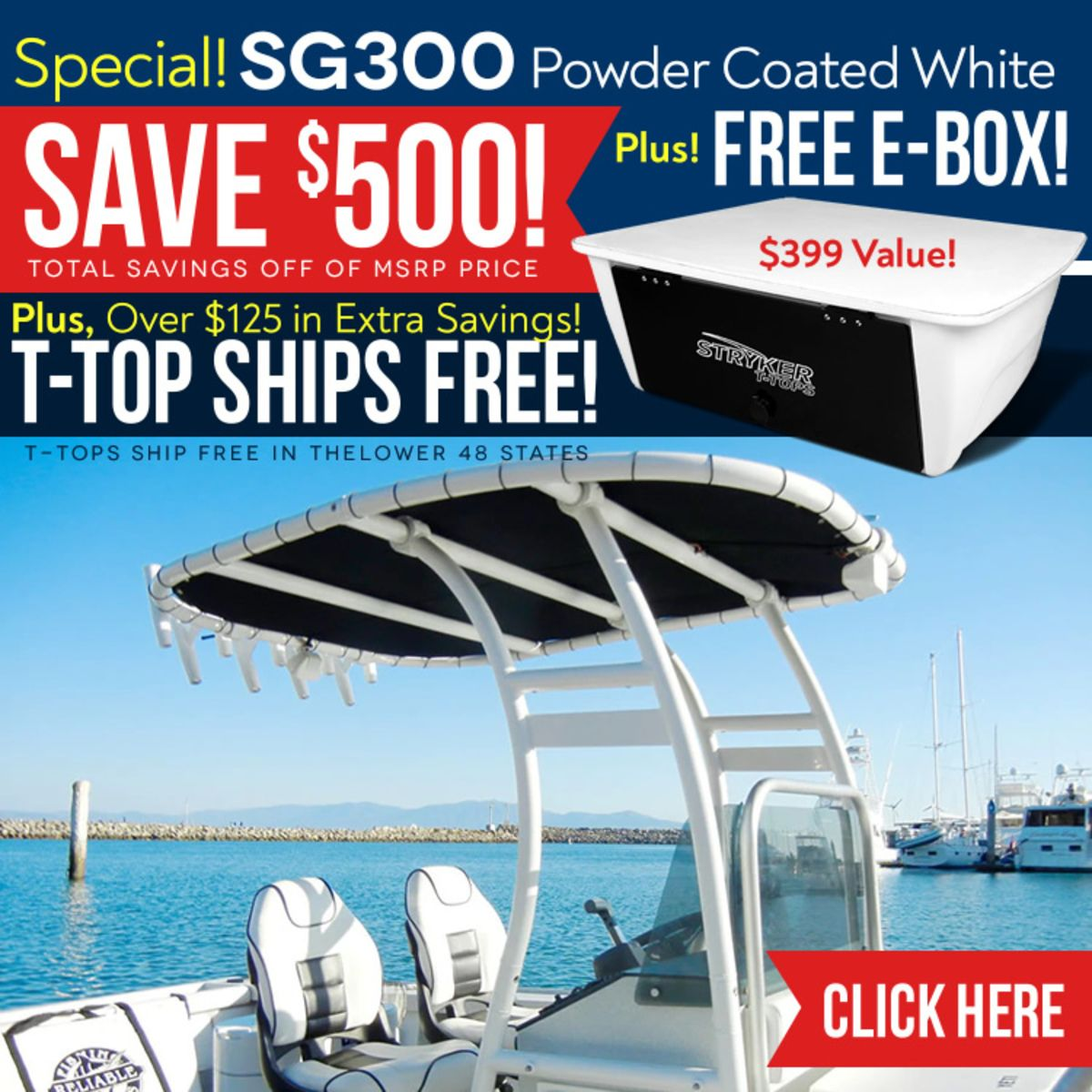 SG300 TTop for Center Console Boats Powder Coated White