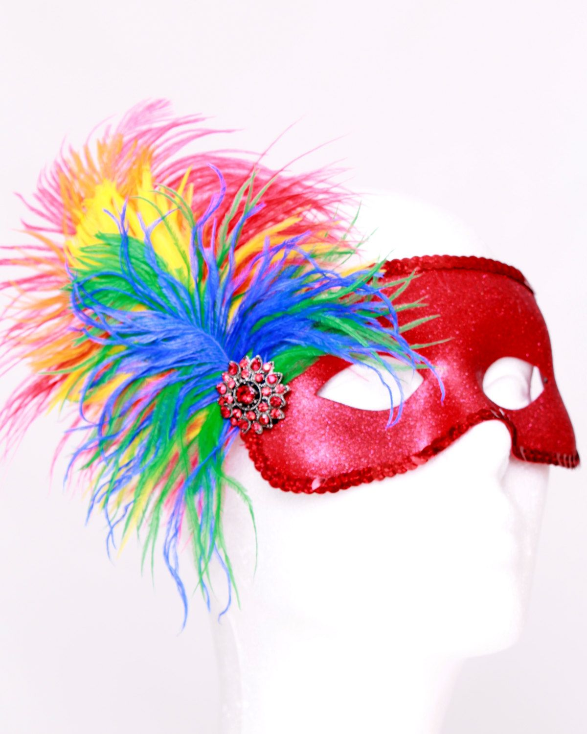 READY TO SHIP: Paradise Parrot - Scarlett Macaw Feather Bird Mask ...