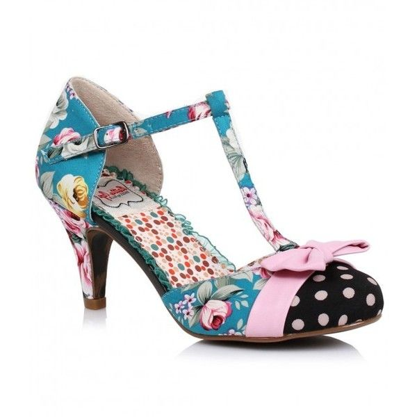 Blue Floral & Dot Bloom Bow Retro T-Strap Pumps | Unique Vintage ...