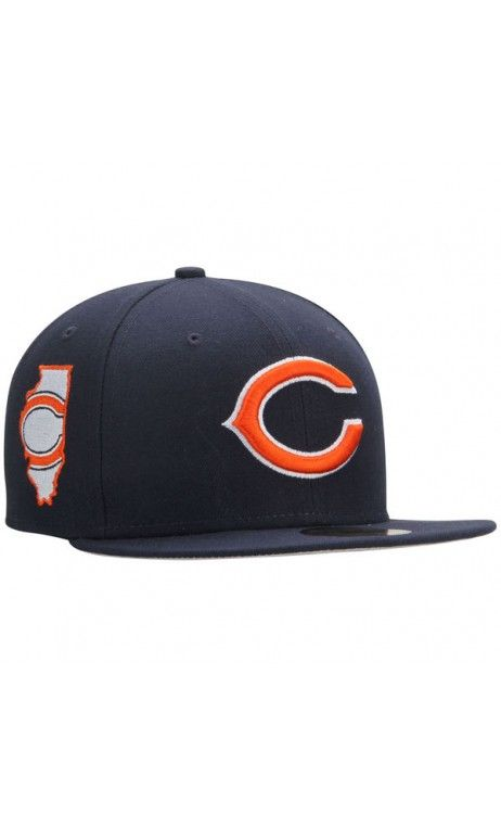 5b17d2e5 NFL Men's Chicago Bears New Era Navy State Clip 59FIFTY Fitted #Hat ...