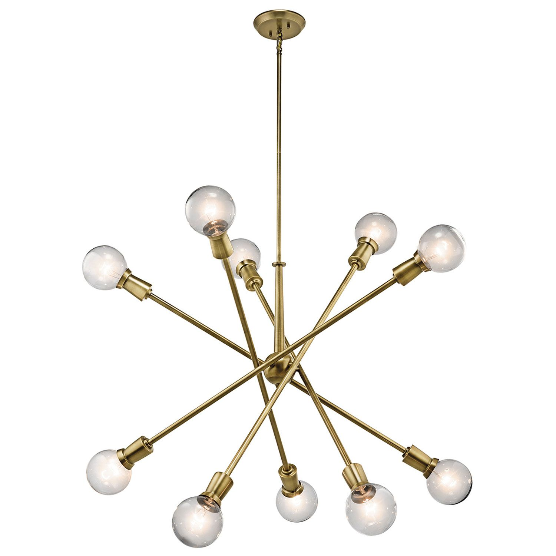 Kichler armstrong natural brass ten light starburst pendant great
