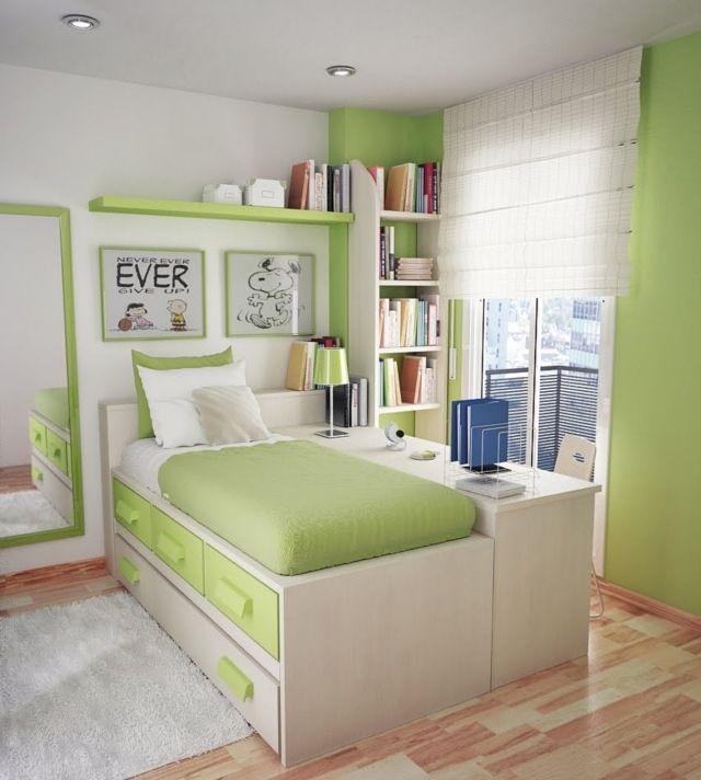 Jugendzimmer Ideen Kleine Räume Bett Schubladen Schreibtisch Wandregale  Grün Creme