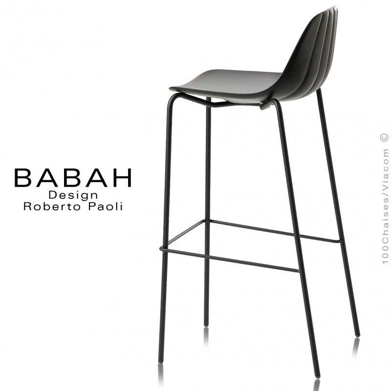 Tabouret de bar design BABAH 80 pieds acier peint noir assise
