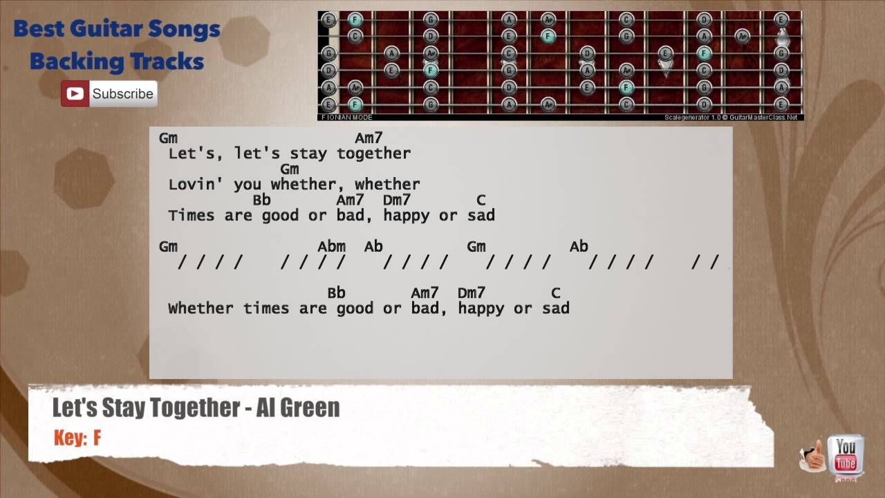 Let S Stay Together Al Green Guitar Backing Track With Scale
