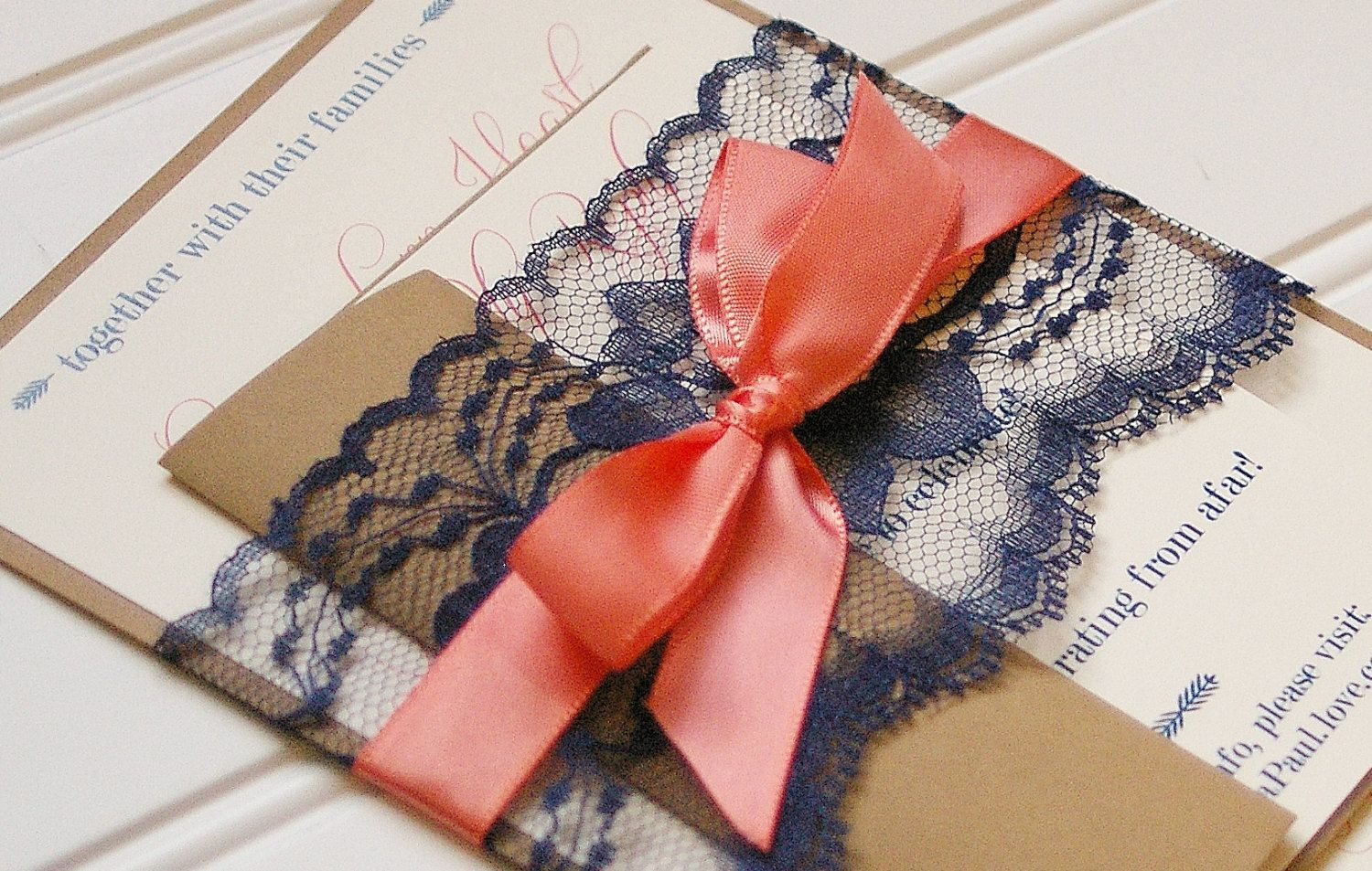 Navy and Coral Wedding Invitations. Lace Invitation. Rustic Wedding ...