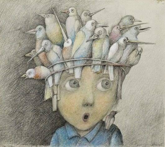 """""""E ficas de novo sozinho na solidão que começa apenas com o passarinho dentro da tua cabeça."""" Manuel António Pina/Stasys Eidrigevicius"""
