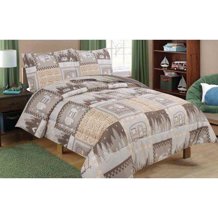 Full/Queen RV Camping Comforter Bedding Set Motorhome Camper Stars - Brown, Tan, and White - Walmart.com