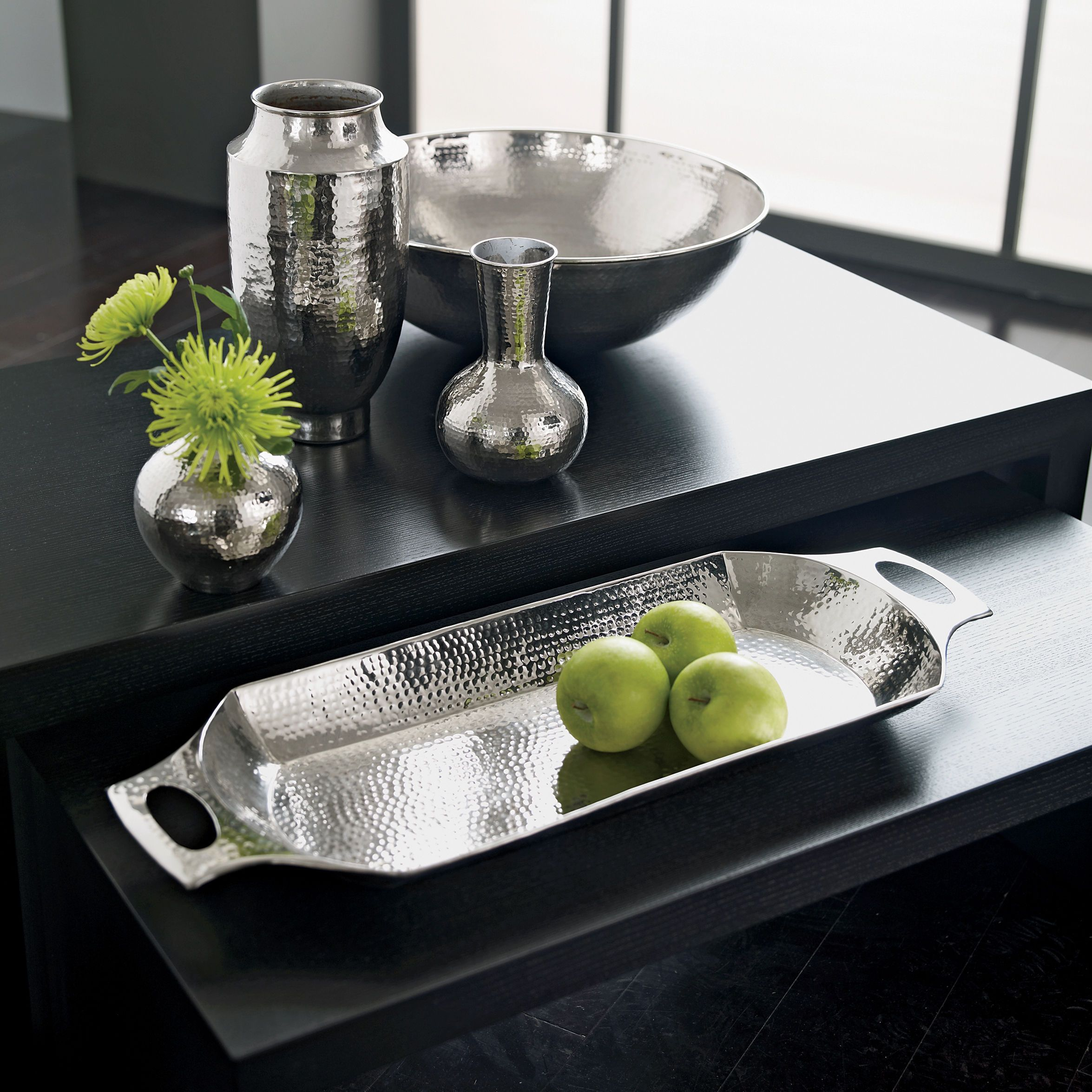 Silver Home Decor Modern Hammered Tray Ethan Allen Us Silver Trays