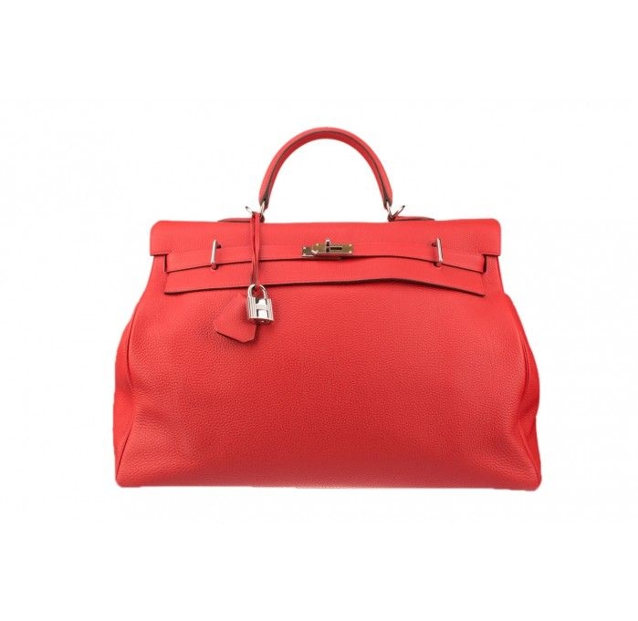 Hermes Kelly 50 Cm Relax Bag With Palladium Hardware