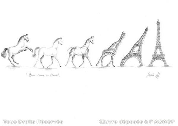 Metamorphosis of the horse in Eiffel Tower - Pencil drawing