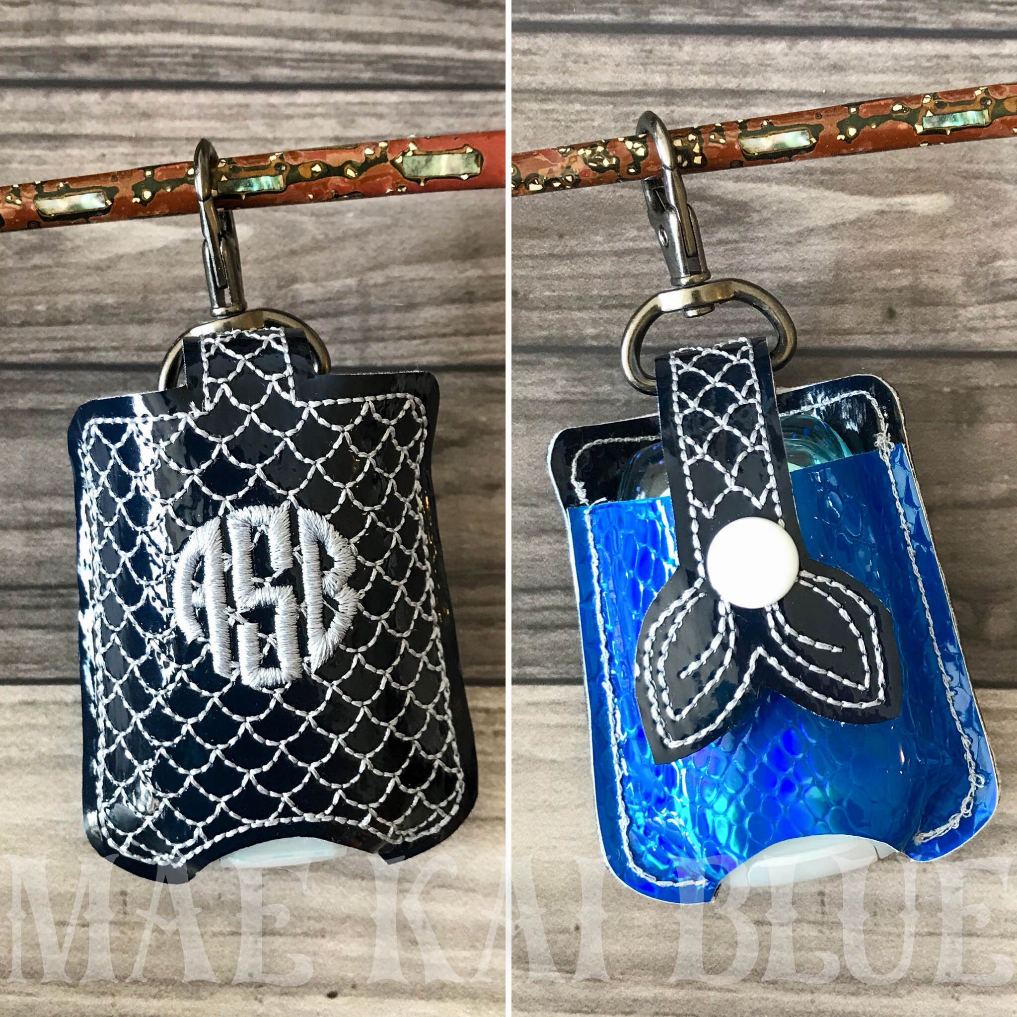 Mermaid Tail Hand Sanitizer Pocket Keeper Holder Keychain