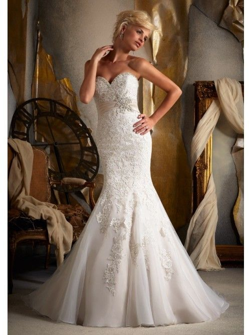 Trumpet/Mermaid Strapless Sweetheart Lace Wedding Dress | Cheap ...