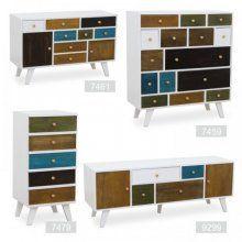 Komoda, 8x zásuvky a 2x dvierka, biela / mix farieb, FELINE 7461