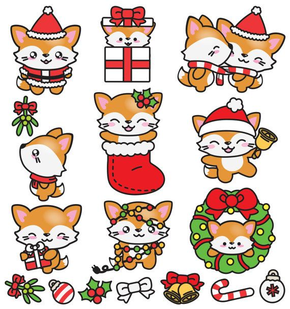 premium vector clipart kawaii christmas foxes cute christmas