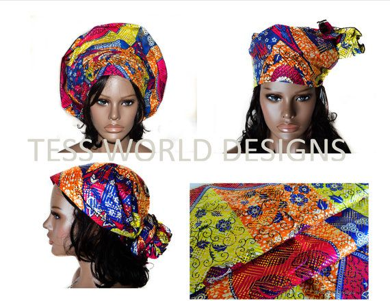 Bazin African Headwrap  African Head tie  by TessWorldDesigns, $22.00
