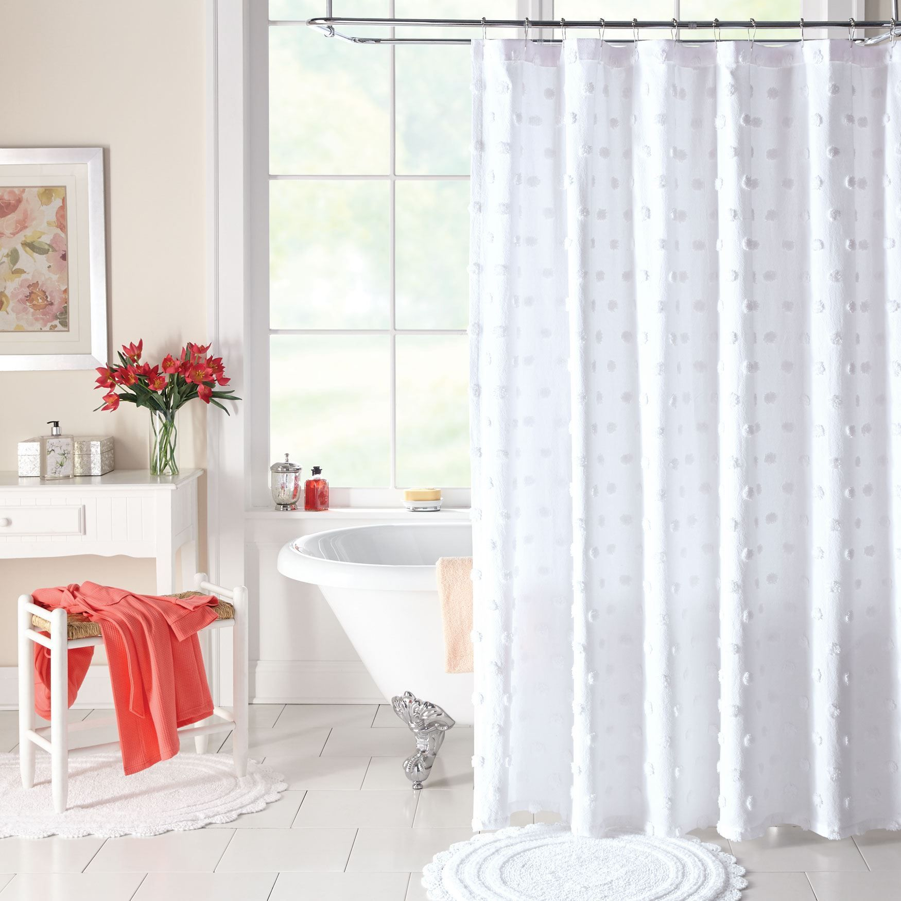Cream Chenille Shower Curtain Hallstrom Home 1 With Images