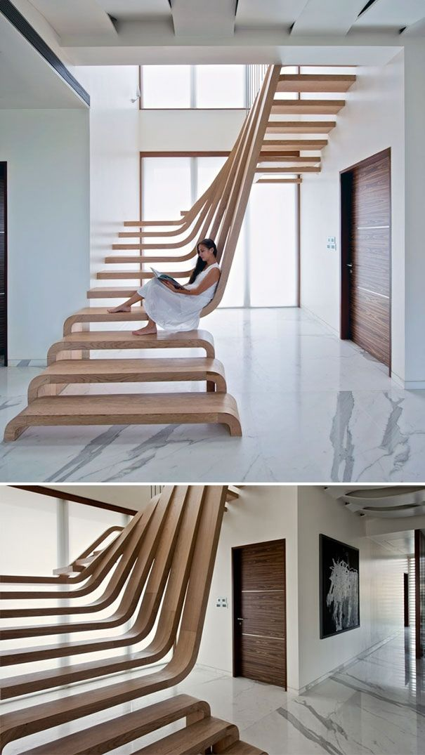 easy modern stairs design indoor. Mumbai house Waves of wood form staircase at SDM Apartment by Arquitectura  en Movimiento Workshop Contemporary Staircases 1 Unique and Architecture