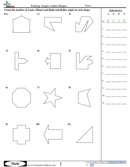 Finding Angles Within Shapes Worksheet