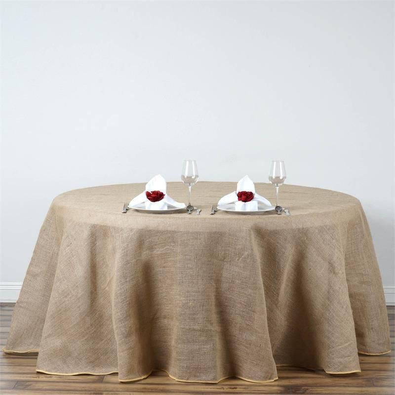 120 Natural Tone Chambury Casa Fine Rustic Burlap Round Tablecloth In 2020 Burlap Tablecloth Vinyl Tablecloth Round Tablecloth