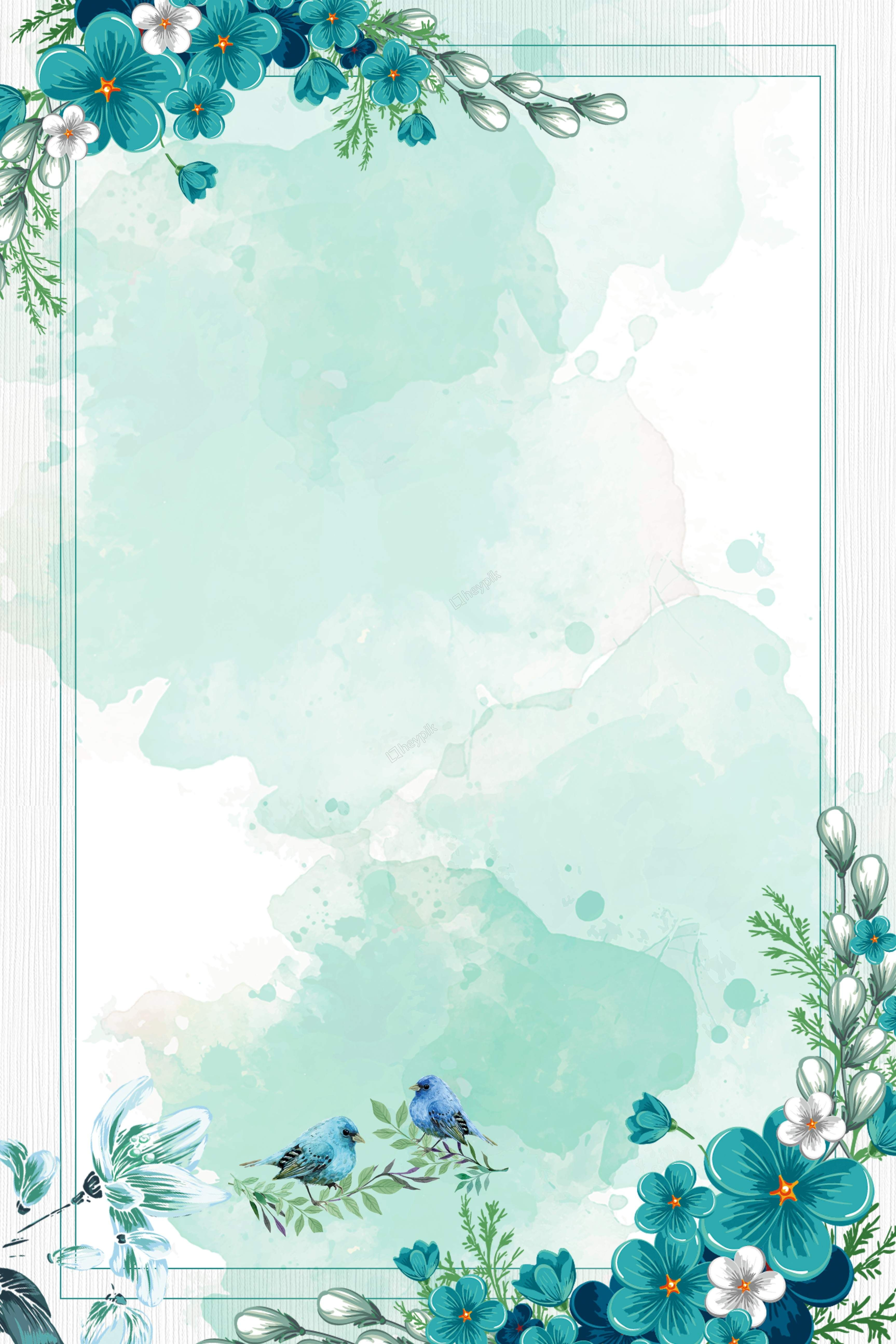 chinese style watercolor blue flowers border background
