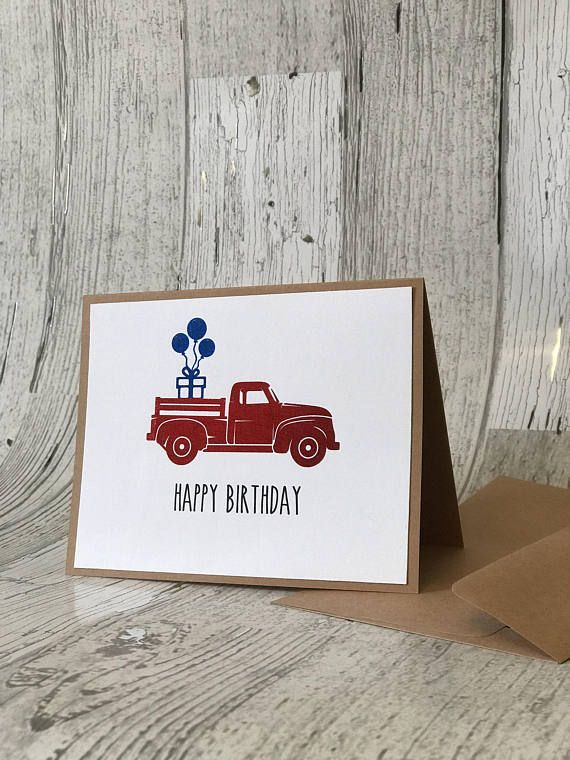 Vintage Red Truck Birthday Card Rae Dunn Inspired Red