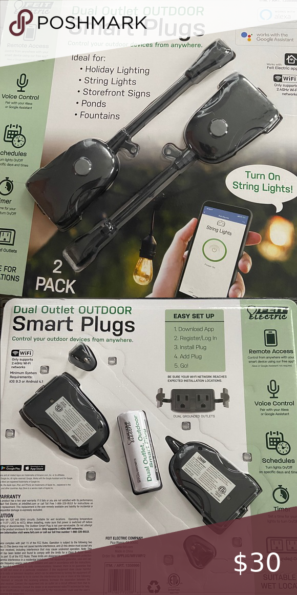 New feit electric WiFi smart outdoor plug 2pk NWT in 2020