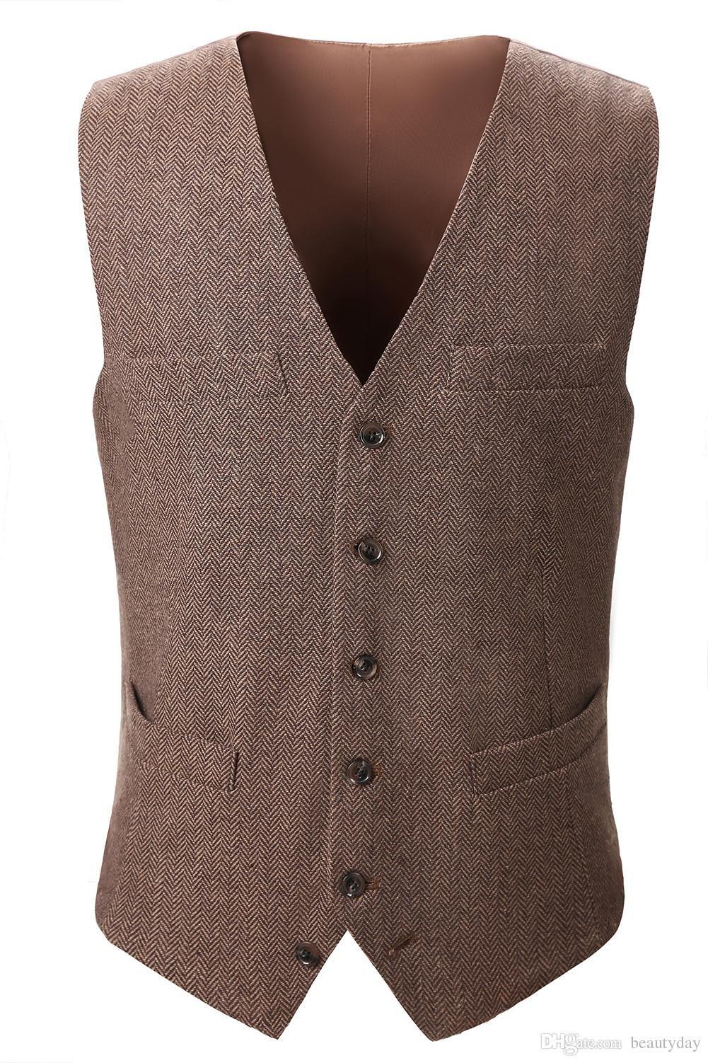 2018 Country Farm Wedding Brown Wool Herringbone Tweed Vests Custom Made  Groom Vest Slim Fit Mens 15ed25ab02b9