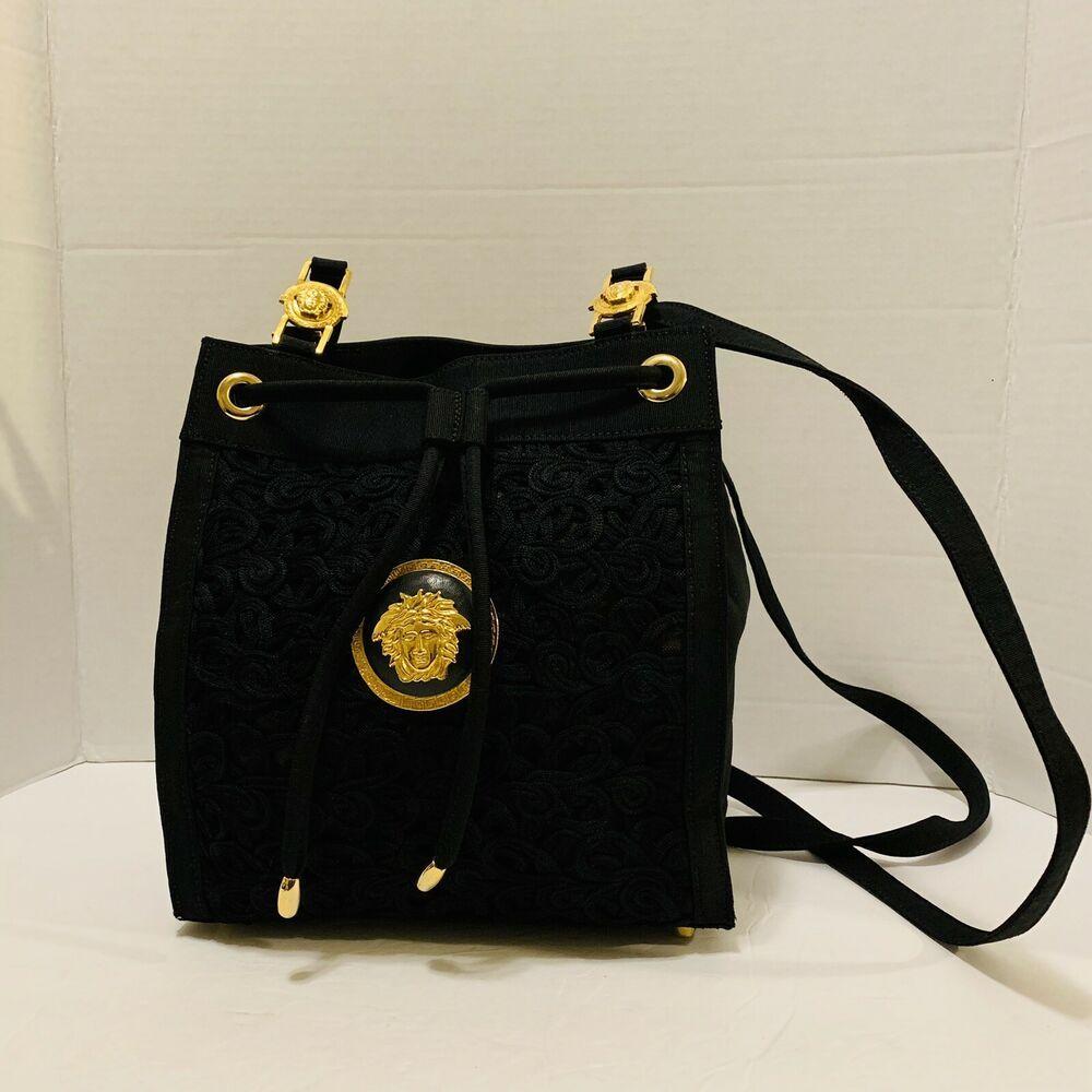 Rare Vintage 80 S Gianni Versace Shoulder Bag Black Ebay Bags White Leather Handbags Shoulder Bag